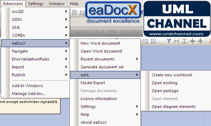 eadocx menu extensions enterprise architect