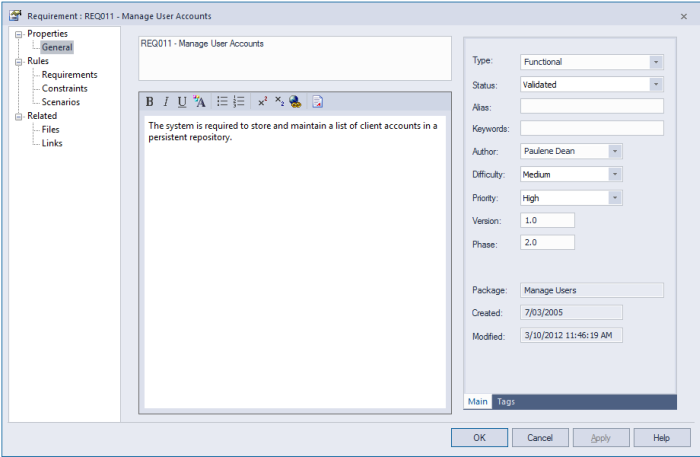 enterprise architect 12 properties dialog