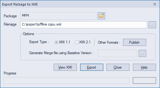 export package xmi sparx enterprise architect