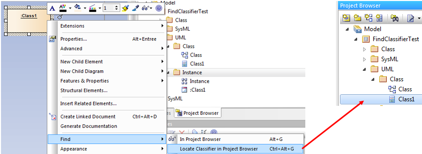 sparx enterprise architect project browser find-classifier-for-instance-port-part-attribute