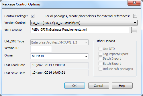 Sparx Enterprise Architect configure package control