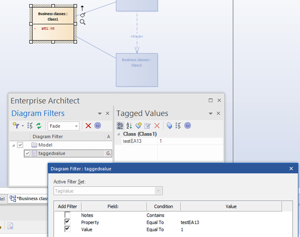 tagged value diagram filter enterprise architect sparx