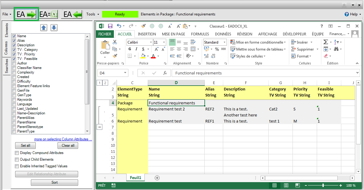 export requirements eadocx eaxl Excel file output