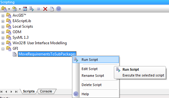 run enterprise architect script