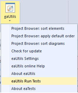 eaUtils 1.14 automated tests addin run eatests