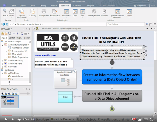 eautils find in all diagrams information flow demonstration video