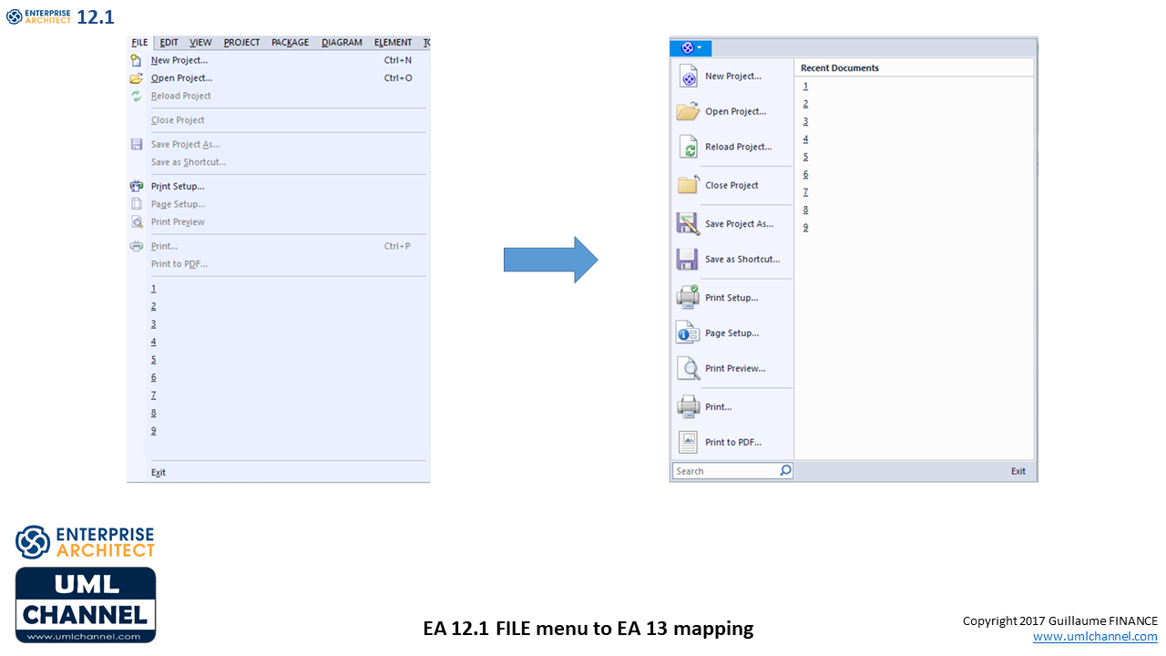 Sparx Enterprise Architect 12.1 FILE menu to Enterprise Architect 13 mapping