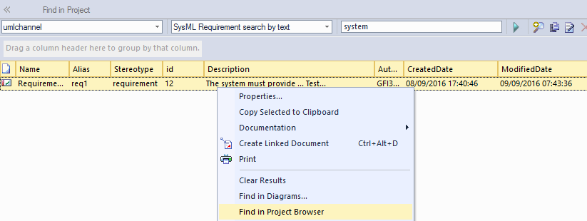 sysml requirement search by text in sparxsystems enterprise architect