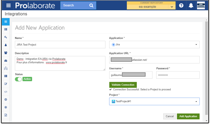 prolaborate jira integration sparx enterprise architect add new application